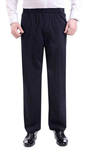 Soojun Men's Casual Straight Leg Full Elastic Waist Pull On Pants, Navy, ()
