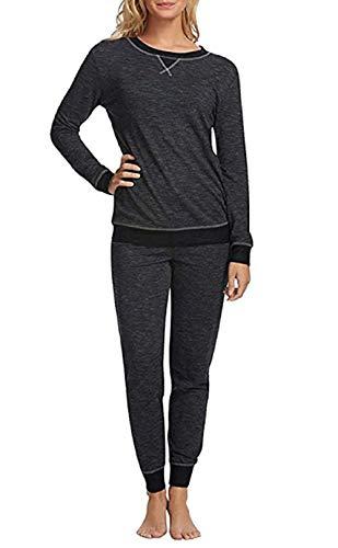 Felina Women's 2 Piece Lounge Pajama Set (Black, Large)