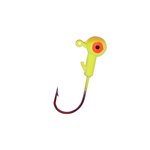 MAKEBASS Jig Head Red Nickel Round Fishing Hooks High Carbon Steel Painted Lead Ball Head Hook for Fresh/Saltwater Boat Soft Bait Lures Fishing (10 Pack) (1/8oz, Yellow Head)