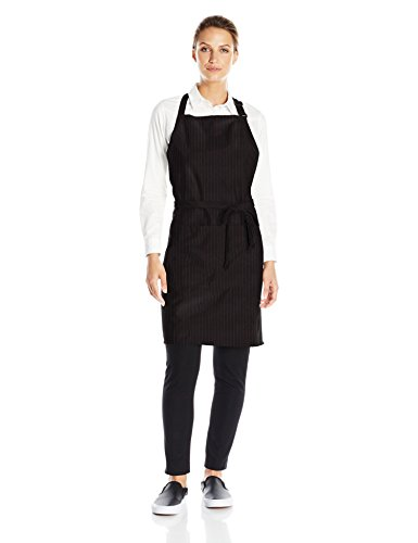 Uncommon Threads Unisex ADJ Butcher Apron 2 Section Pocket, Black/Red Pin Stripe, One Size