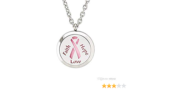 Stainless Steel Breast Cancer Ribbon Essential Oil Diffuser Necklace Hypoallergenic