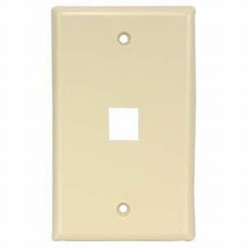 Black Point Products BT-192 Ivory Cat-5 1-Cavity Keystone Wall Plate, Ivory