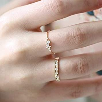 Bague simple en or 18 carats pour adolescente fian/çailles Accessoire de mode jeune fille 5 femme avec saphir blanc clout/é Anneau de mariage blanc