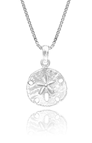 (Honolulu Jewelry Company Sterling Silver Sand Dollar Necklace Pendant with 18