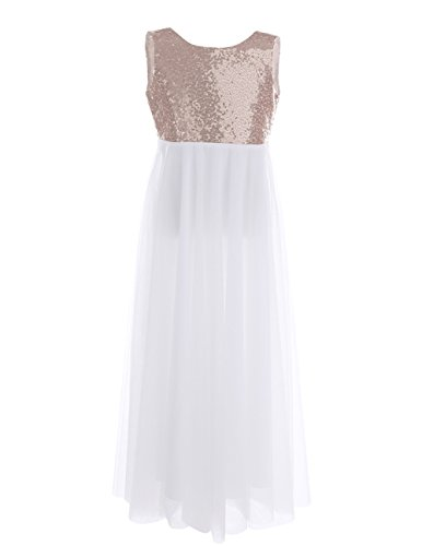TiaoBug Girls Sequined Tulle Princess Flower Girls Dress V-Back with a Flower Brooch Wedding Pageant Party Long Gown Rose Gold 14