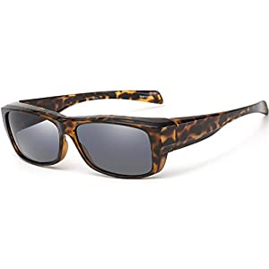 CAXMAN Polarized Fit Over Glasses Sunglasses for Prescription Glasses, Small Size, Tortoise Shell Frame with Grey Lens, 100% UV Protection