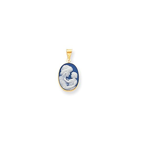 Porcelain Cameo Pendant Necklace (14k 13x17mm Porcelain Mother Cameo Pendant)