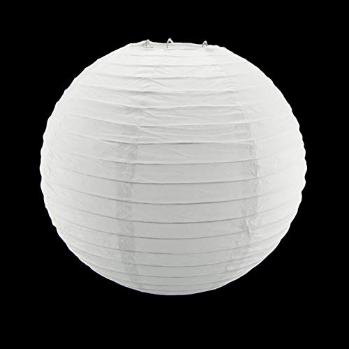 (Mikash 8 White Circle Round Paper Lantern Lamp Shade Party Home Hanging Decor Wedding | Model WDDNGDCRTN - 28573 | 30)