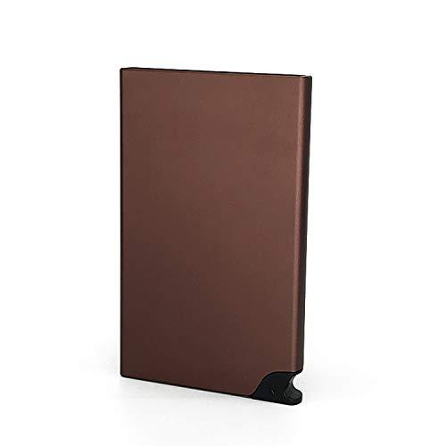 Luxury Carbon Fiber Mini Pop Up Rfid Wallet For Men Slim Leather Business Id Credit Card Pocket Holder Wallet,Brown