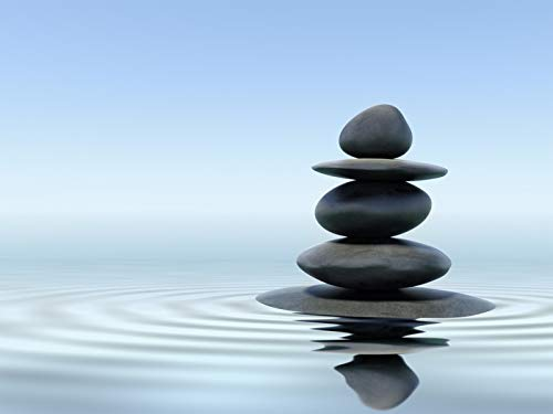 Zen Stones Stacked on Water Photography A-93555 (12x18 Fine Art Print, Home Wall Decor Artwork Poster)