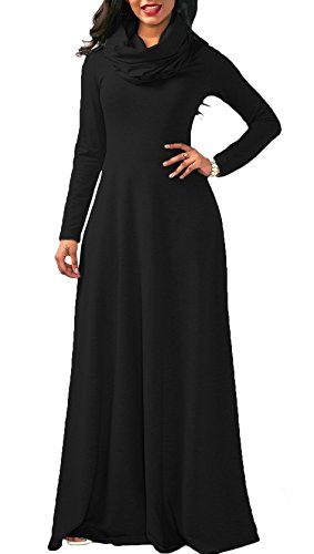 Flare Turtleneck (Playworld Womens Maxi Swing Turtleneck Long Sleeve Fit and Flare Plus Size Dress)
