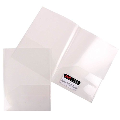 JAM Paper Plastic Light Weight Two Pocket Presentation Folder - Clear - 12 Folders/Pack