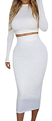 Baifern Women's Winter Two Piece Full Sleeve Solid White Bodycon Skirt Sets
