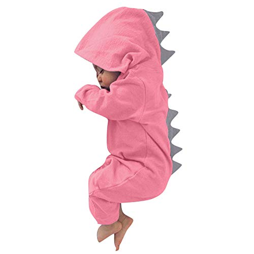 Fheaven 0-24 Months Newborn Baby Boys Girls Romper Dinosaur Hooded Romper Zipper Jumpsuit Outfits Clothes (0-3 Months, -