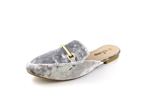 Emma Shoes Womens Slip On Loafers, Velvet Mule Slippers (10, Silver)