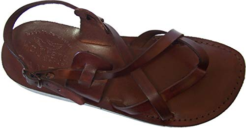 Holy Land Market Unisex Genuine Leather Biblical Sandals - Jesus -Yashua Style III - 38 M EU Brown
