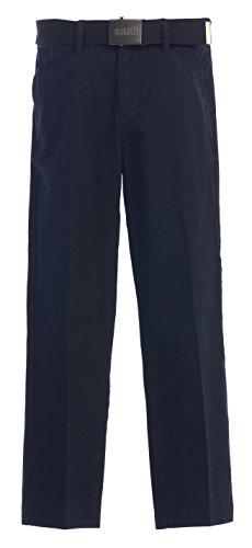 Gioberti Boys Belted Flat Front Twill Pants, Navy, (Navy Blue Dress Pants Slacks)