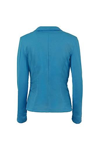 Manica Tailleur Suit Cappotto Leisure Blu Giacca Bavero Moda Autunno Lunga Slim Business Fit Puro Colore Donna Confortevole ZqTHXtfHO