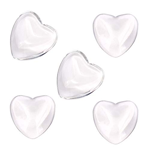 100 Pcs Heart Transparent Glass Tiles Cameo, Heart Shape Clear Glass Cabochon for Photo Pendant Craft Jewelry Making (25mm)