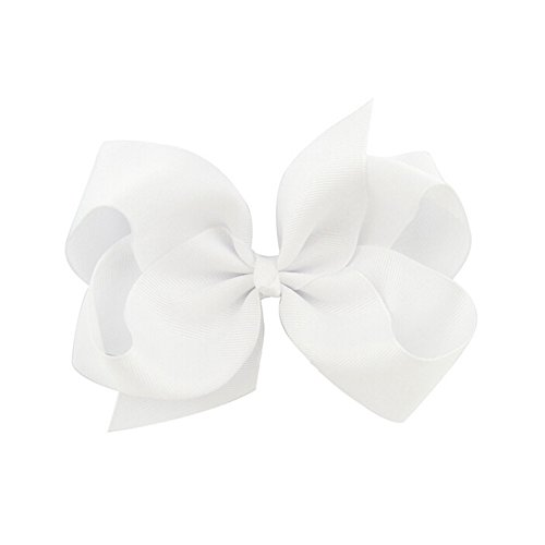 Ruyaa 8 Inch Extra Large Big Hair Bows and Alligator Clips for Girls Teens Women,White,One Size