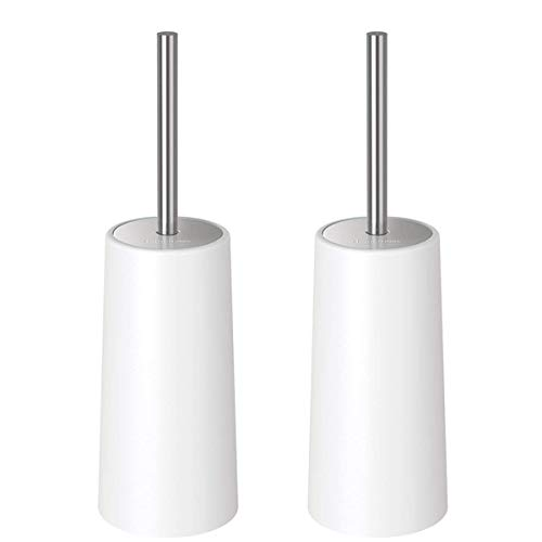 Homemaxs Toilet Brush with Holder 2 Pack- Heavy Duty【2019 Upgraded】 Stainless Steel Length Handle Bowl Brush Set - Ergonomic, Durable Shed-Free Scrubbing Bristles, Discreet Wand Stand