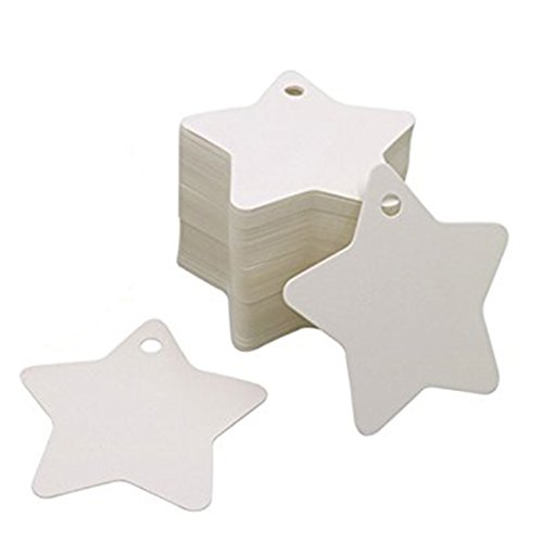 Hi-Unique 100 Pcs Star Shaped Kraft Paper Gift Tags for DIY Arts and Crafts, Wedding, Christmas, Thanksgiving and Holiday,White
