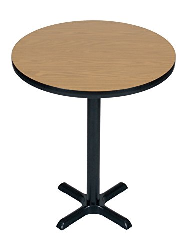 Correll BXB36R-06 Medium Oak Top and Black Base Round Standing and Barstool Height Bar, Café and Break Room Table, 36