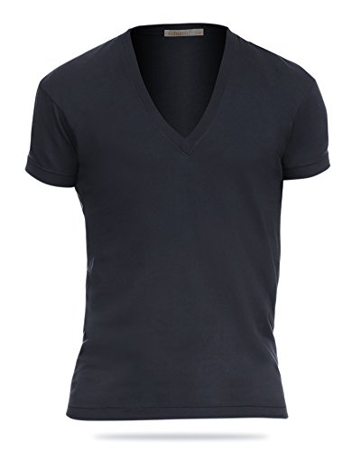 KalvonFu Men's Cotton Deep V Neck Short Sleeve Classic Solid T Shirt (XL, Black) Classic Deep V-neck T-shirt