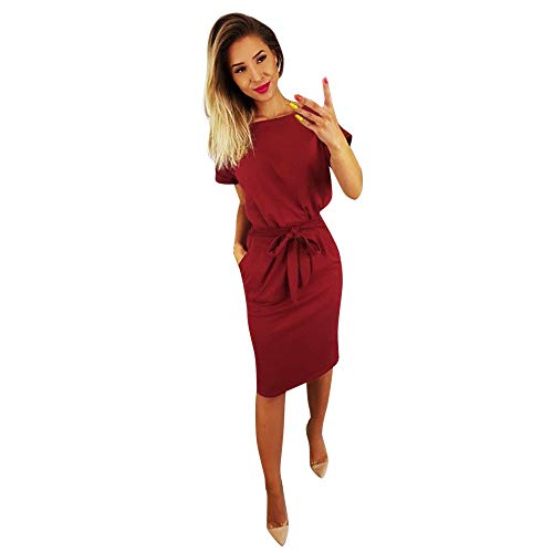 TANGSen Womens Casual Pocket Solid Summer Dress Ladies Short Sleeve Fashion Evening Party Mini Dress(Wine Red,M)