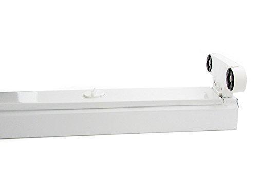 Plafoniera Neon Led 60 Cm : Porta lampada plafoniera per doppio 2 tubi led t8 da 60cm interno