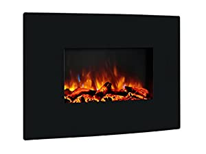 Puraflame 36 Vivian Wall Mounted Curved Panel Electric Fireplace With Remote