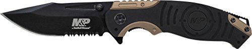 Smith & Wesson M&P SWMP13BS 8.2in High Carbon S.S. Folding Knife with 3.5in Serrated Clip Point Blade and Aluminum Handle for Tactical, Survival and EDC (M And P Knife)