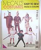 McCalls Costume Pattern 7745 American Indian, Egyptian, Roman, Peter Pan Size Kids 2-12