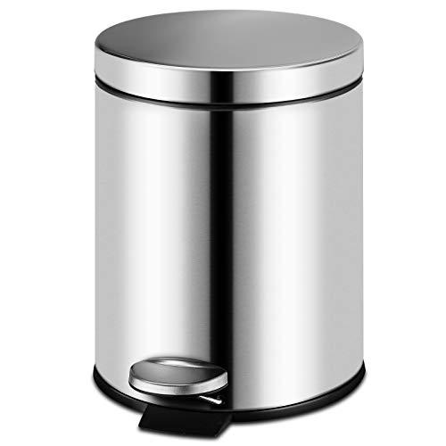 (5Liter Fingerprint Proof Round Step Bathroom Trash Can, Brushed Stainless Steel 1.3-Gallon)