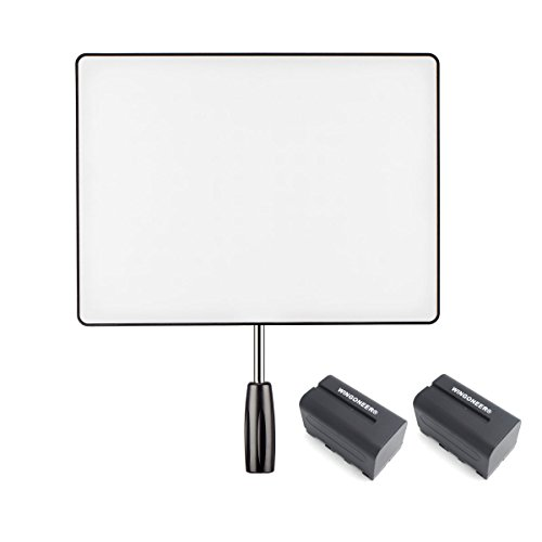 YONGNUO YN600 Air Pro LED Video Light Panel with 3200-5500K Color Temperature Brightness Adjustable for Canon Nikon DSLR Camera DV and Camcorder with 2PCS WINGONEER NP-F770 Battery and Battery Charger by Yongnuo