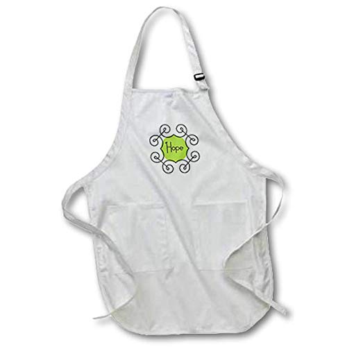 (3dRose TNMGraphics Christmas - Word Hope in Green Circle with Spiral Frame - Full Length Apron with Pockets 22w x 30l (apr_299960_1))