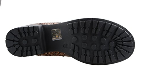 Eyekepper moda mujer elastico en paneles con lentejuelas brillantes Chunky Heel Ankle Boot marrón