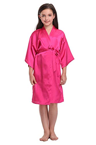 Girls Floral Satin Robes for Spa Party Flower Girl Robes Toddler Wedding Silk Robes