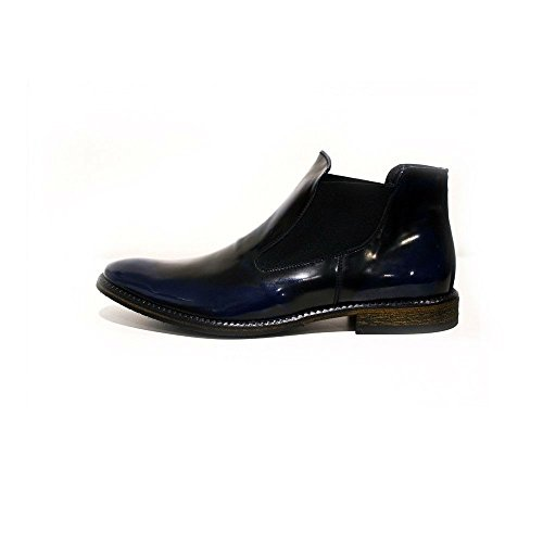 Slip Rindleder On marineblaue Chelsea Lackleder italienisches PeppeShoes Herren Modello Handgearbeitetes Stiefeletten Palermo Leder YAzPwq