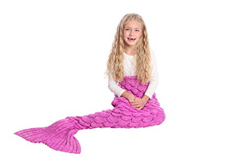 [Mermaid Tail Blanket Knit Crochet and Scale Mermaid Blanket for Kids,Sleeping Blanket (55''x28'', Scale] (Cute Baby Boy Costumes Ideas)