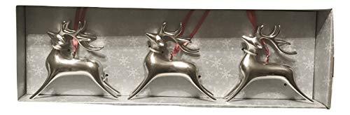 Aluminum Leaping Deer Trio Holiday Christmas Ornament Set, 3 pcs