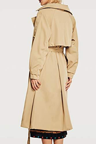 Chaqueta Trenchcoat Zamtapary Botonadura Caqui Larga Mujer Británica Doble Outwear 6q6Xg0rw