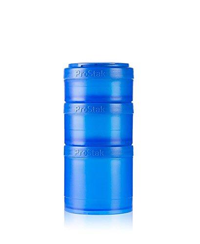 BlenderBottle ProStak Twist n' Lock Storage Jars Expansion 3-Pak with Pill Tray, Blue Blue Storage Jar