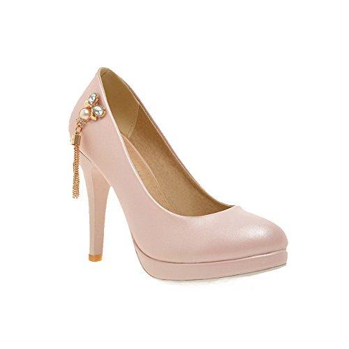 Allhqfashion Womens Pull On Smerigliato Tacco A Spillo Chiuso Punte Stiletto Solido Pompe-scarpe Rosa