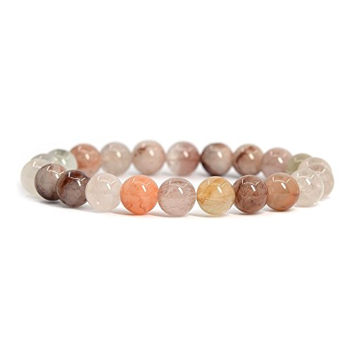 Natural Multicolor Rutilated Quartz Gemstone 8mm Round Beads Stretch Bracelet (Rutilated Quartz Stone)