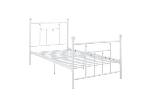Good Trading Loft Bed (DHP Manila Metal Bed with Victorian Style Headboard and Footboard, Includes Metal Slats, Full Size, White)
