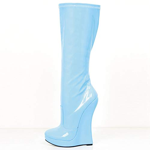 T-JULY Women's Extreme High Heel Wedge Heel Platform Pointed Toe PU Leather Side Zipper Sexy Fetish Knee-High Boots