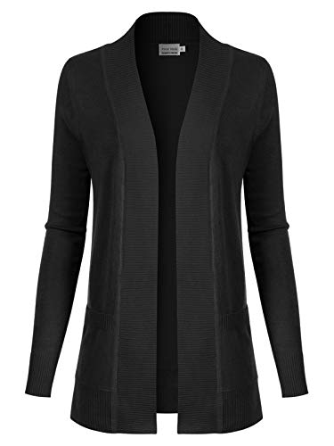 Instar Mode Women's Open Front Long Sleeve Classic Knit Cardigan, Icaw011 Black, Medium