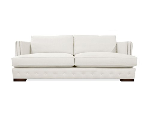 South Cone Home Pierre Tufted Linen Sofa, 94″, White
