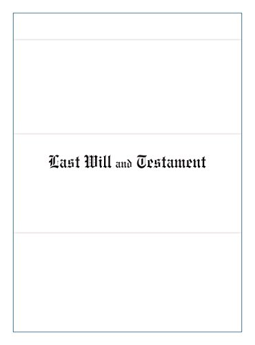 (Last Will & Testament Document Covers, Letter Size, 10 Pt. White Marble Crush 9